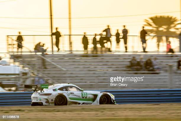 The Mercedes AMG GT3 of Ben Keating Jeroen Bleekemolen of the Netherlands Adam Christadoulou of Great Britain and Luca Stohl of Germany races on the...