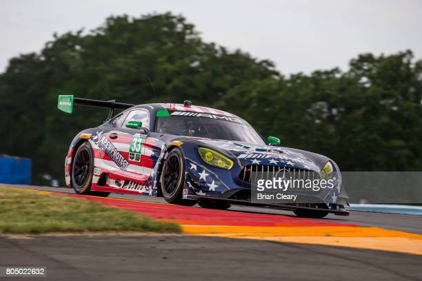 The Mercedes AMG GT3 of Ben Keating Jeroen Bleekemolen of the Netherlands and Mario Farnbacher of Germany races on the track during practice for the...