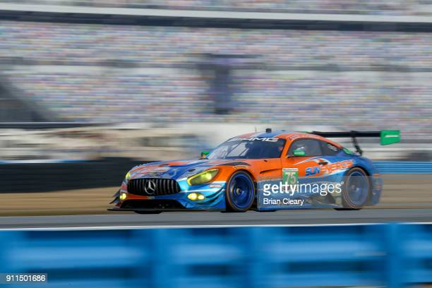 The Mercedes AMG GT3 of Kenny Habul of Australia Mikael Grenier of Canada Thomas Jaeger of Germany and Maro Engel of Germany races on the track at...