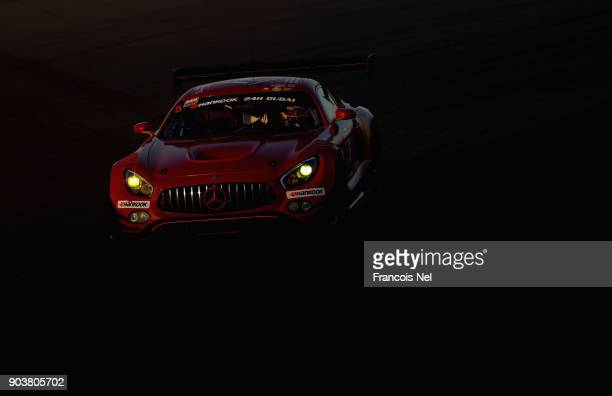 The Mercedes AMG GT3 of Remon Leonard Vos Tom OnsslowCole and Euan Hakney drives during qualifying for the Hankook 24 Hours Dubai Race in the...