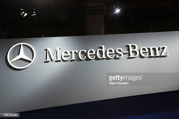 The Mercedes Benz corporate logo is displayed at the 91st edition of the European Motor Show at Brussels Expo on January 10 2013 in Brussels Belgium