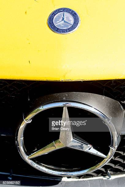 The Mercedes Benz logo emblem is displayed on a race car in the paddock before the Pirelli World Challenge GT race at Barber Motorsports Park on...