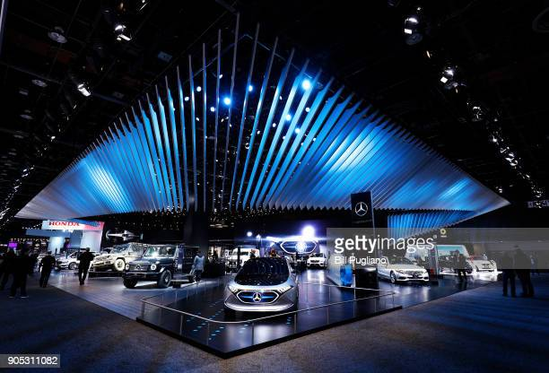 The Mercedes exhibit is shown at the 2018 North American International Auto Show January 15 2018 in Detroit Michigan More than 5100 journalists from...