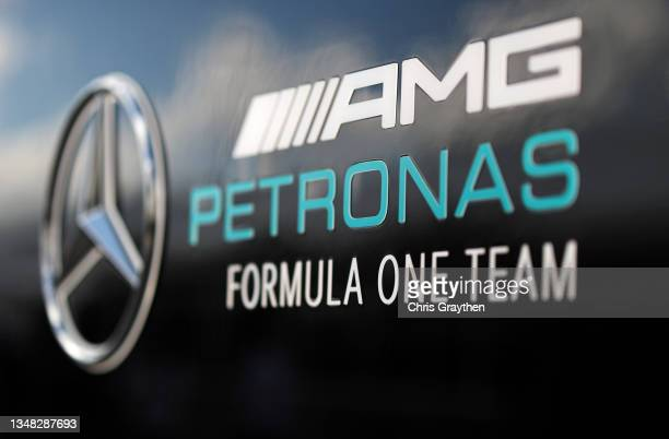 The Mercedes GP logo in the Paddock during final practice ahead of the F1 Grand Prix of USA at Circuit of The Americas on October 23, 2021 in Austin,...