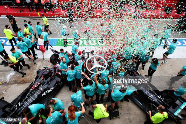 The Mercedes GP team celebrate after winning a 7th consecutive F1 Constructors Championshop during the F1 Grand Prix of Emilia Romagna at Autodromo...