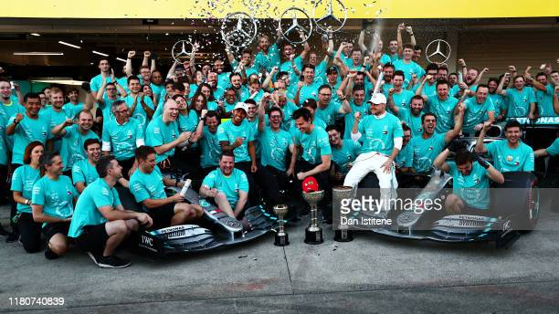 The Mercedes GP team celebrate winning the constructors championship after the F1 Grand Prix of Japan at Suzuka Circuit on October 13, 2019 in...