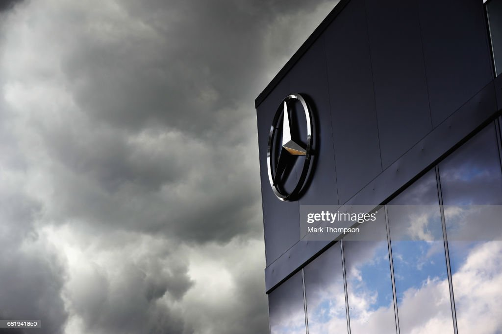 The Mercedes motorhome in the Paddock during previews for the Spanish Formula One Grand Prix at Circuit de Catalunya on May 11, 2017 in Montmelo, Spain.