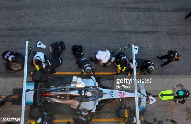 the Mercedes of Lewis Hamilton during the Formula 1 tests at the BarcelonaCatalunya Circuit on 07th March 2018 in Barcelona Spain Photo Joan...