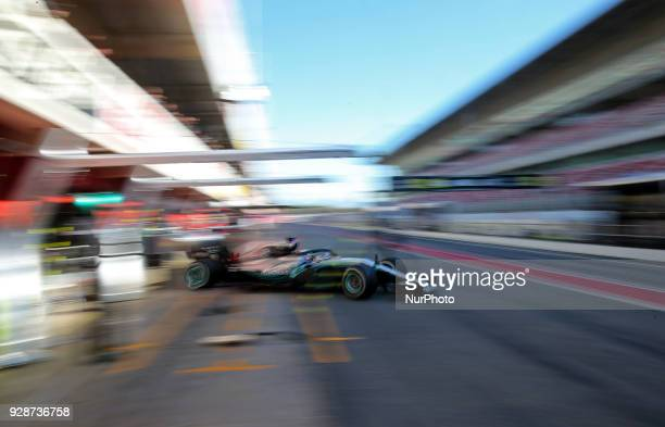 the Mercedes of Lewis Hamilton during the Formula 1 tests at the BarcelonaCatalunya Circuit on 07th March 2018 in Barcelona Spain