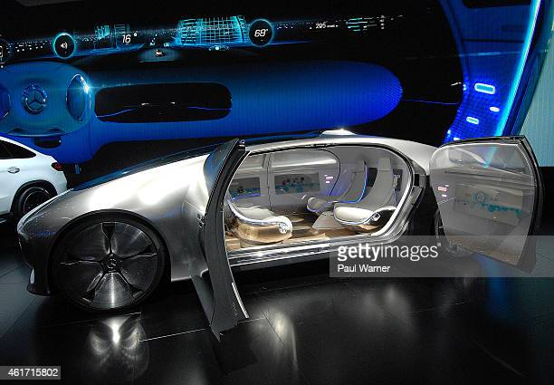 The MercedesBenz F 015 Luxury in Motion autonomous car is displayed during the opening day of the 2015 North American International Auto Show at Cobo...