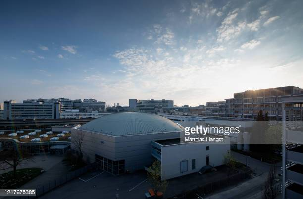 The MercedesBenz factory where car production has been halted stands at twilight during the coronavirus crisis on April 8 2020 in Sindelfingen...