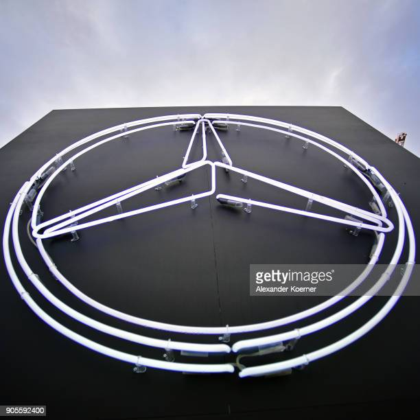 The MercedesBenz logo is on display at the MBFW Berlin January 2018 at ewerk on January 16 2018 in Berlin Germany