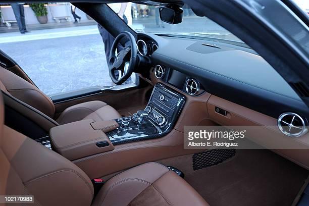 The MercedesBenz SLS AMG interior is displayed as MercedesBenz celebrates PlayStation 3 Gran Turismo 5 featuring the SLS AMG at SLS Hotel on June 15...