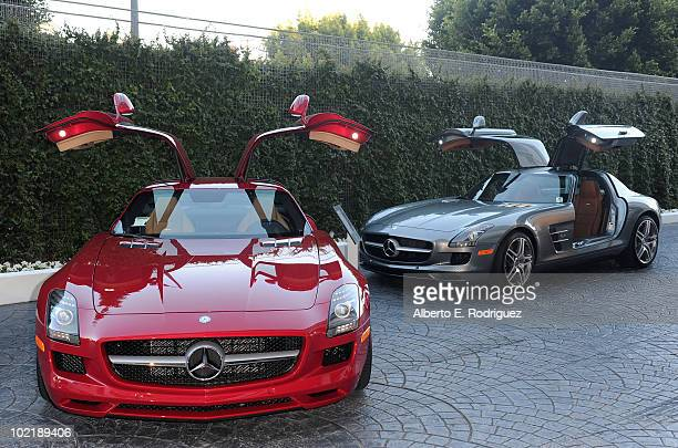 The MercedesBenz SLS AMG is displayed as MercedesBenz celebrates PlayStation 3 Gran Turismo 5 featuring the SLS AMG at SLS Hotel on June 15 2010 in...