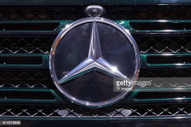 The MercedesBenz star is seen on the front of a new MercedesBenz Gmodel at the annual results press conference of Daimler AG on February 01 2018 in...