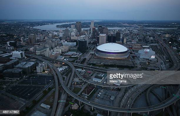 The MercedesBenz Superdome stands downtown on August 24 2015 in New Orleans Louisiana The site was used as a 'shelter of last resort' during...