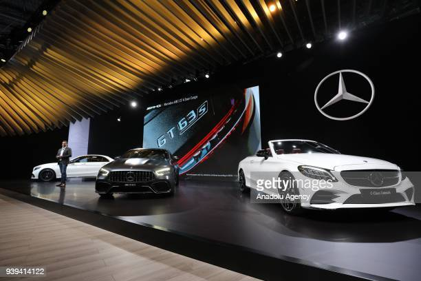 The MercedesBenz unveils the 2019 MercedesBenz AMG GT 63 S and 2019 MercedesBenz AMG C63 during the New York International Auto Show on March 28 2018...