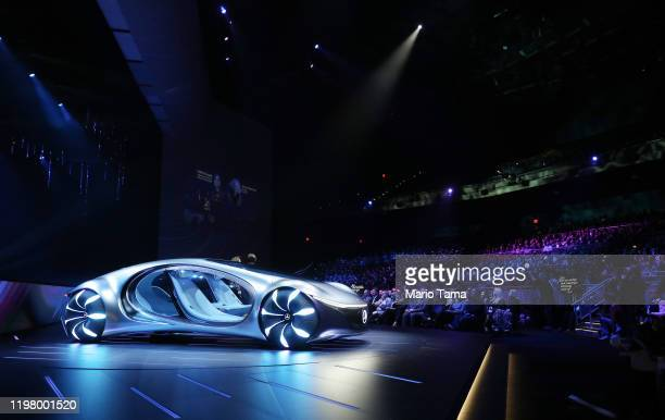 The Mercedes-Benz Vision AVTR concept car is displayed during a keynote address at CES 2020 at Park Theater at Park MGM on January 6, 2020 in Las...