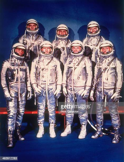 The Mercury Seven astronauts 1959 A group photo in spacesuits of the seven test pilots chosen in April 1959 to participate in Project Mercury NASA's...
