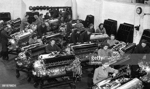The Merlin engines will be used for many of the RAF bombers and fighter aircraft Picture shows a general view of one section of the factory where the...