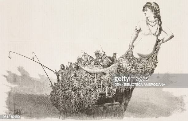 The Mermaid's wagon Carnival of Naples Italy drawing by Francesco Paolo Michetti engraving from L'Illustrazione Italiana Year 3 No 23 April 2 1876
