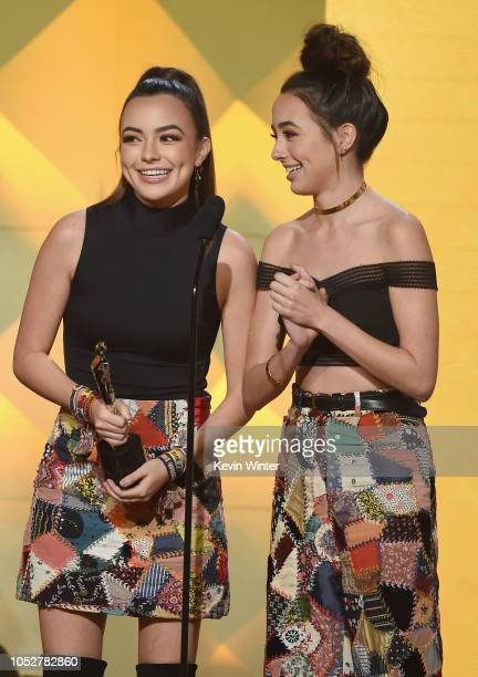 The Merrell Twins accept the Lifestyle award onstage during The 8th Annual Streamy Awards at The Beverly Hilton Hotel on October 22 2018 in Beverly...