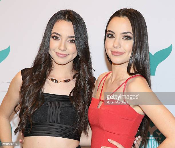 The Merrell Twins' Veronica Marrell and Vanessa Merrell attends 8th Annual Shorty Awards Red Carpet And Awards Ceremony at The New York Times Center...