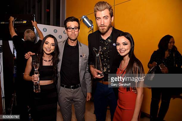 The Merrell Twins Veronica Marrell and Vanessa Merrell pose backstage with Charles 'Link' Neal III and Rhett McLaughlin at The 8th Annual Shorty...