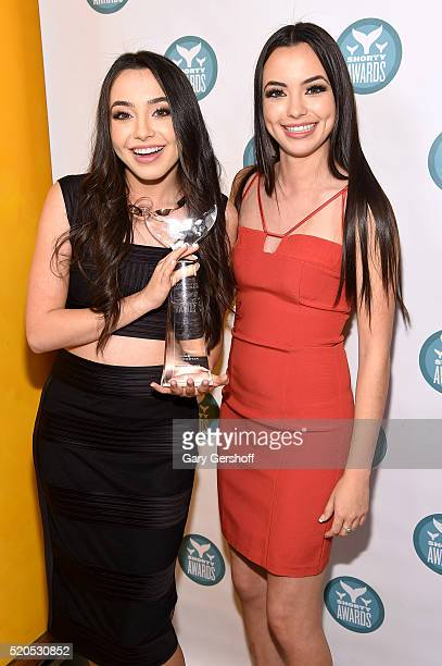 The Merrell Twins Veronica Marrell and Vanessa Merrell pose backstage at The 8th Annual Shorty Awards at The Times Center on April 11 2016 in New...