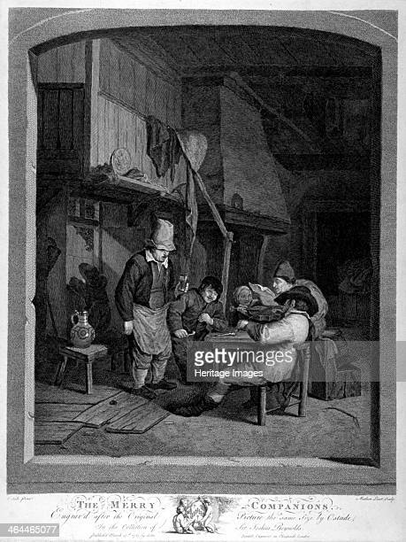 'The Merry Companions' 1783 A group of villagers gather in an inn smoking and drinking One man plays the violin while the others sing along