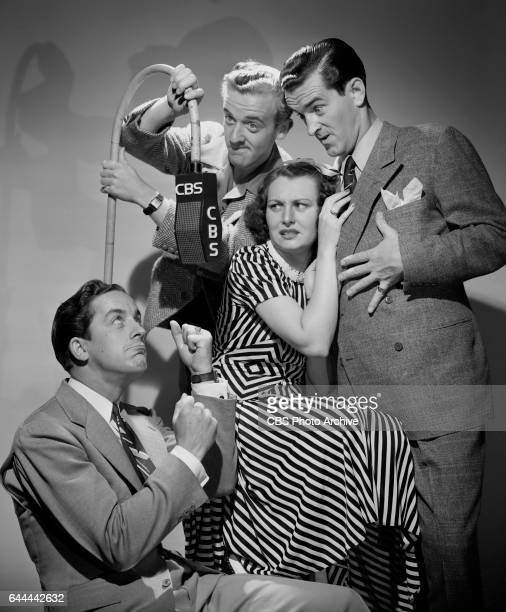 The Merry Macs a swing quartet perform on CBS Radios The Al Pearce Show They feature from left Judd McMichaels Joe McMichaels Helen Carroll and Ted...