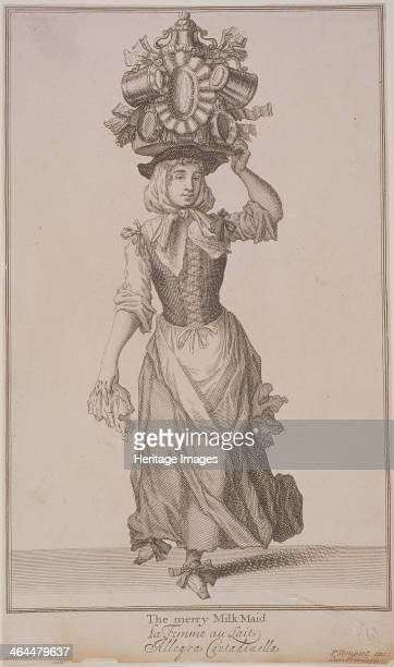 'The merry Milk Maid', . A milkmaid, carrying a large urn with smaller jugs attached to it, on her head. From Cries of London, .