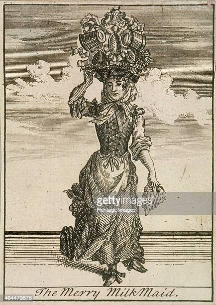 'The Merry MilkMaid', . A milkmaid, carrying a large urn with smaller jugs attached to it, on her head. From Cries of London, .