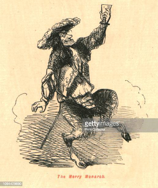 The Merry Monarch' 1897 Caricature of an unshaven King Charles II of England depicted with the legs of a satyr and holding a glass of wine From 'The...