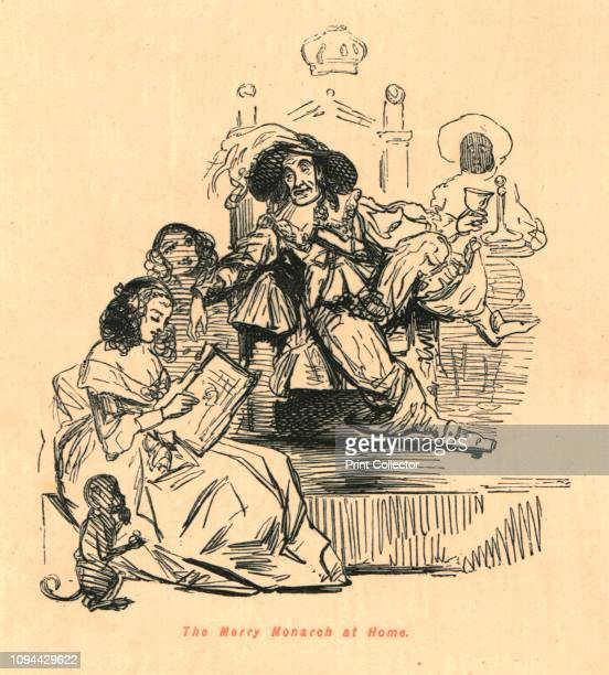 The Merry Monarch at Home' 1897 Caricature of King Charles II of England lounging on his throne being read to by a young woman Charles famously had...