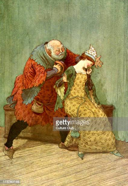 The Merry Wives of Windsor by William Shakespeare Illustration by Hugh Thomson 1910 Act III Scene 3 Caption [Falstaff to Mistress Ford] 'I cannot cog...