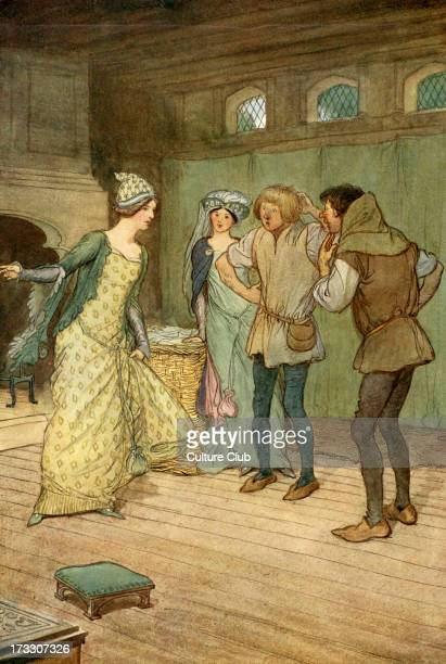 The Merry Wives of Windsor by William Shakespeare Illustration by Hugh Thomson 1910 Act III Scene 3 Caption [Mistress Ford] 'There empty it in the...