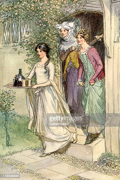 The Merry Wives of Windsor by William Shakespeare Illustration by Hugh Thomson 1910 Act I Scene 1 Caption 'Enter Anne Page with wine Mistress Ford...