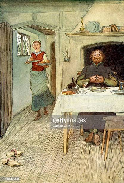 The Merry Wives of Windsor by William Shakespeare Illustration by Hugh Thomson 1910 Act I Scene 2 Caption 'Sir Hugh Evans 'There's pippins and cheese...