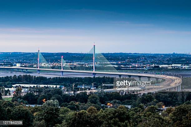 the mersey gateway runcorn - widnes stock pictures, royalty-free photos & images