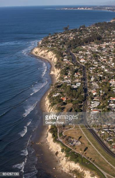 The Mesa and Shoreline Drive is viewed in this aerial photo on February 23 in Santa Barbara California A combined series of natural disasters the...
