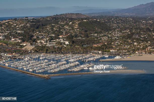 The Mesa neighborhood and Marina is viewed in this aerial photo on February 23 in Santa Barbara California A combined series of natural disasters the...