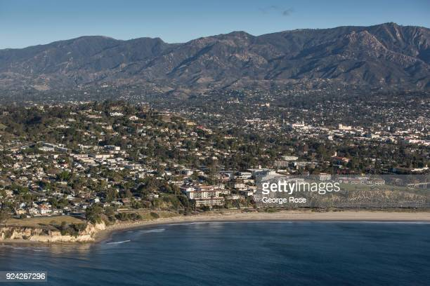 The Mesa neighborhood is viewed in this aerial photo on February 23 in Santa Barbara California A combined series of natural disasters the Thomas...