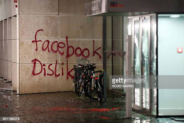 The message facebook Dislike is written on the wall of a building where US social media giant Facebook has its German headquarters in Hamburg...