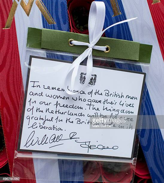 The message on the wreath laid by King WillemAlexander of the Netherlands at the annual Remembrance Sunday Service at the Cenotaph on Whitehall at...