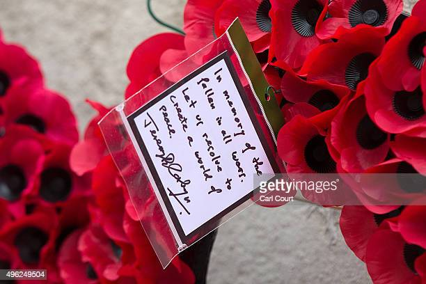 The message on the wreath laid by Labour leader Jeremy Corbyn is pictured after the annual Remembrance Sunday Service at the Cenotaph on Whitehall on...