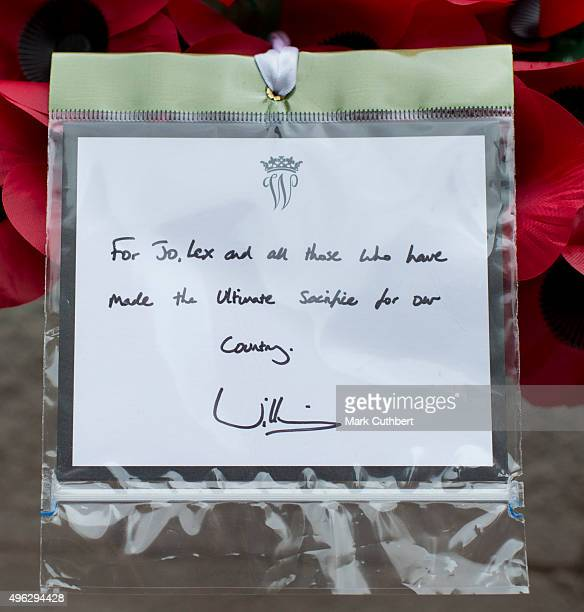 The message on the wreath laid by Prince William Duke of Cambridge at the annual Remembrance Sunday Service at the Cenotaph on Whitehall at The...
