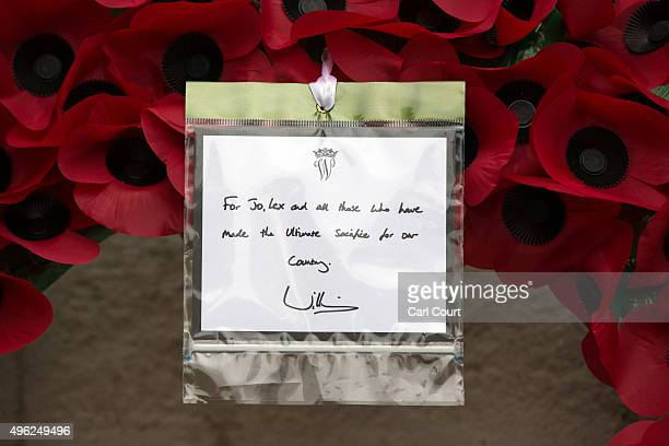 The message on the wreath laid by Prince William is pictured after the annual Remembrance Sunday Service at the Cenotaph on Whitehall on November 8...