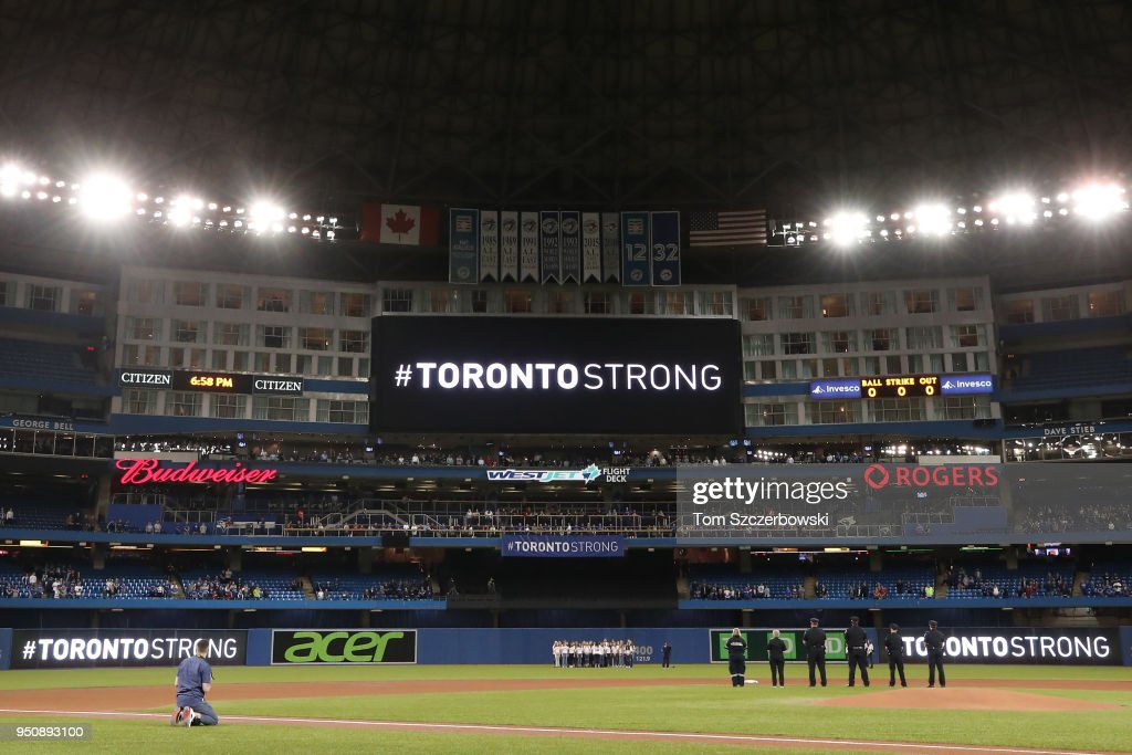The message Toronto Strong appears on the scoreboard the day after an attack that killed ten people before the Toronto Blue Jays MLB game against the Boston Red Sox at Rogers Centre on April 24, 2018 in Toronto, Canada.