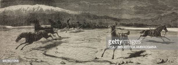 The messengers of death disaster to the 10th Hussar on the Kabul river Second AngloAfghan War illustration from the magazine The Graphic volume XIX...